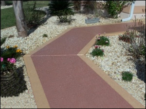 Concrete Stain Using Light Earth Tone Chips