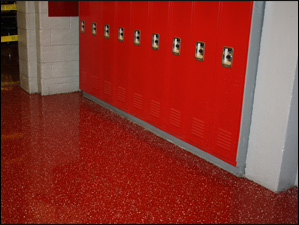 Tile Red Base - Custom Chip Blend, Heavy Broadcast, 2 coats of HPU Clear Topcoat