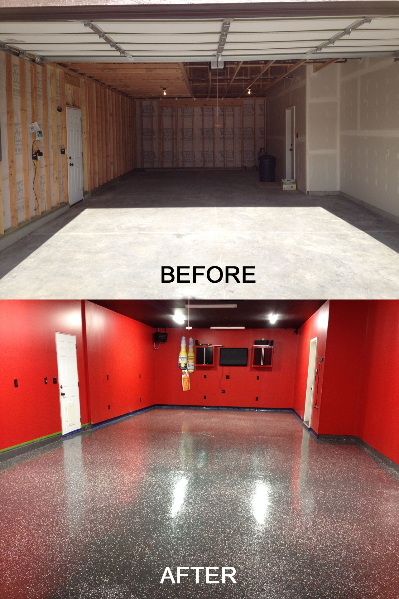 Garage floor paint concrete epoxy coatings epoxy Before and after interior design projects